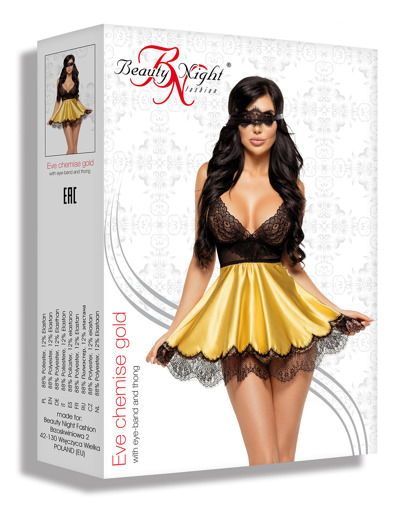 Eve chemise with mask gold