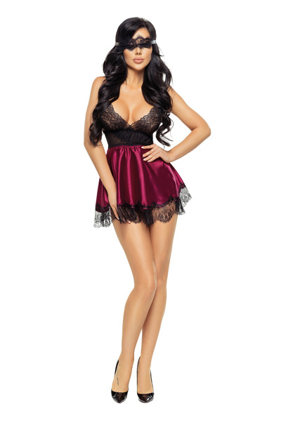 Eve chemise with mask purple