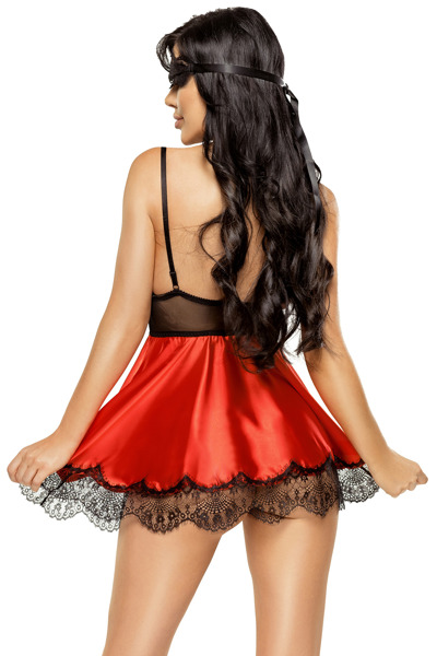 Eve chemise with mask red